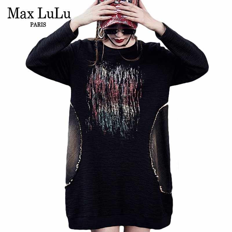Max LuLu Spring 2019 Luxury Korean Brand Ladies Knitted Clothes Womens Denim Mini Dresses Printed Vestidos