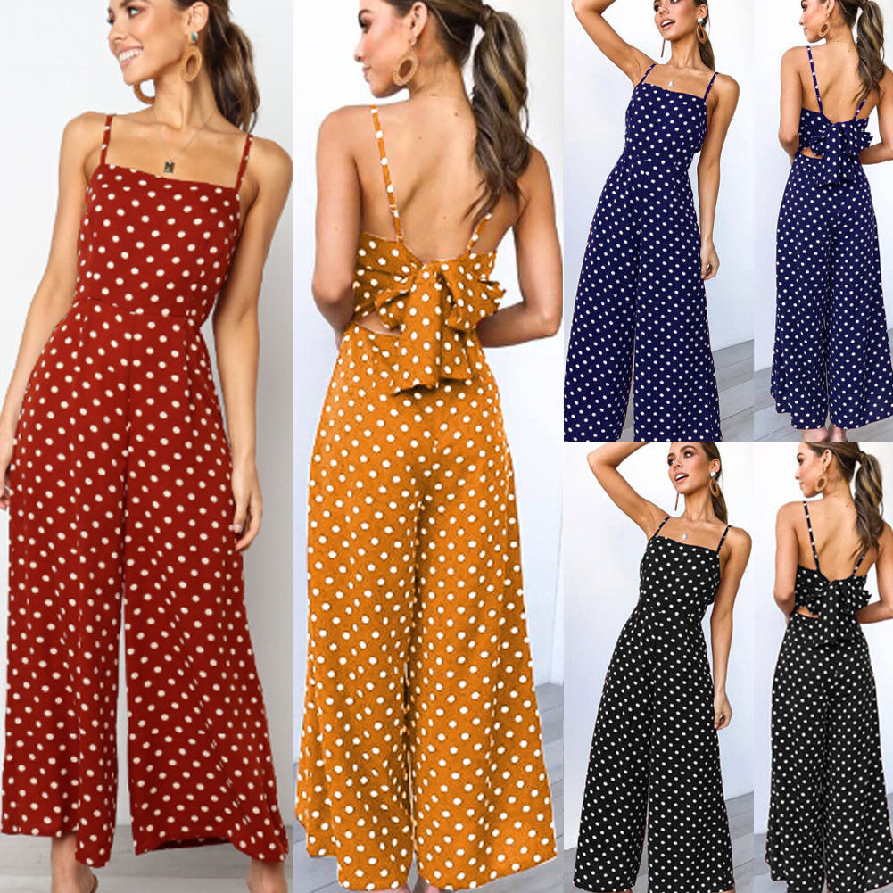 Elegant Sexy Jumpsuits Women Sleeveless Polka Dots Loose Trousers Wide Leg Pants Rompers Holiday Backless Bow Leotard Overalls Рубашка