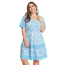 Plus Size Printed Floral Women Dress Casual Sexy Summer Boho Dress Blue A Line Elegant Midi Dresses Beach Sundress New Arrivals blue random floral printed a line mini dress