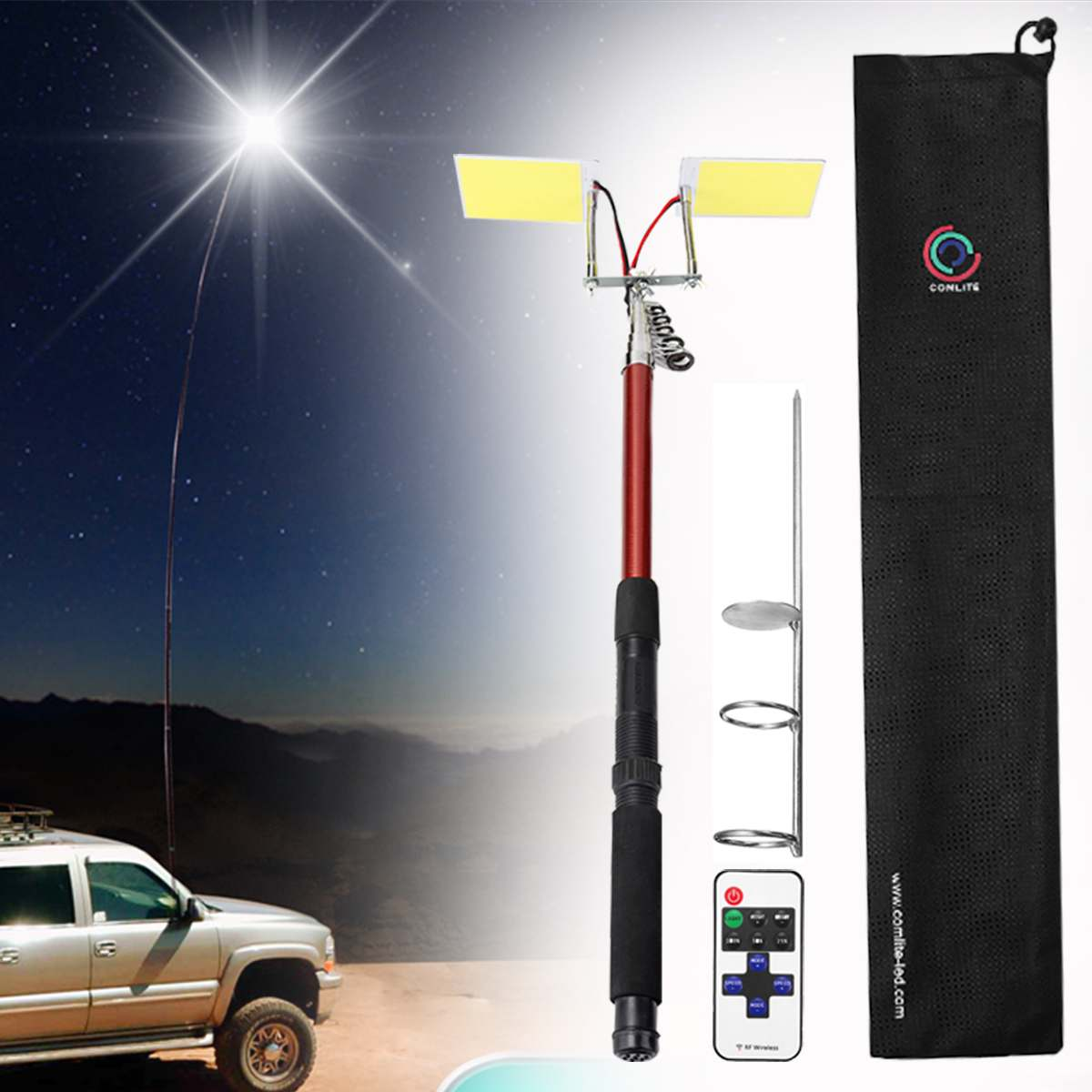 3.75M 12V Telescopic LED Fishing Rod Outdoor Lantern Camping Lamp Light With Remote Control For Road Trip Self-drive Travelling