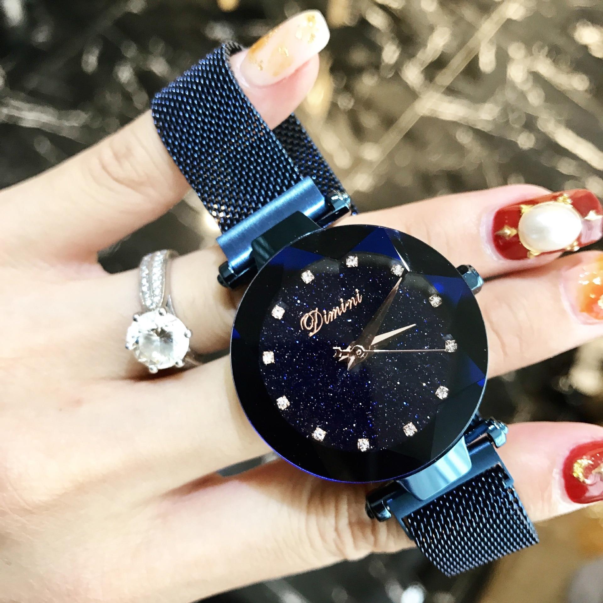 Роскошные розовое золото для женщин часы минимализм звездное небо сетки нержавеющая сталь модные повседневное женские наручные