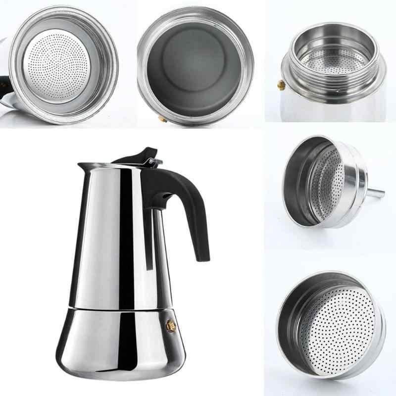 100/200/300/450 Ml Perut Besar Kompor Kopi Moka Botol Pot Moka Stainless Steel Espresso pembuat Kopi Pot Alat