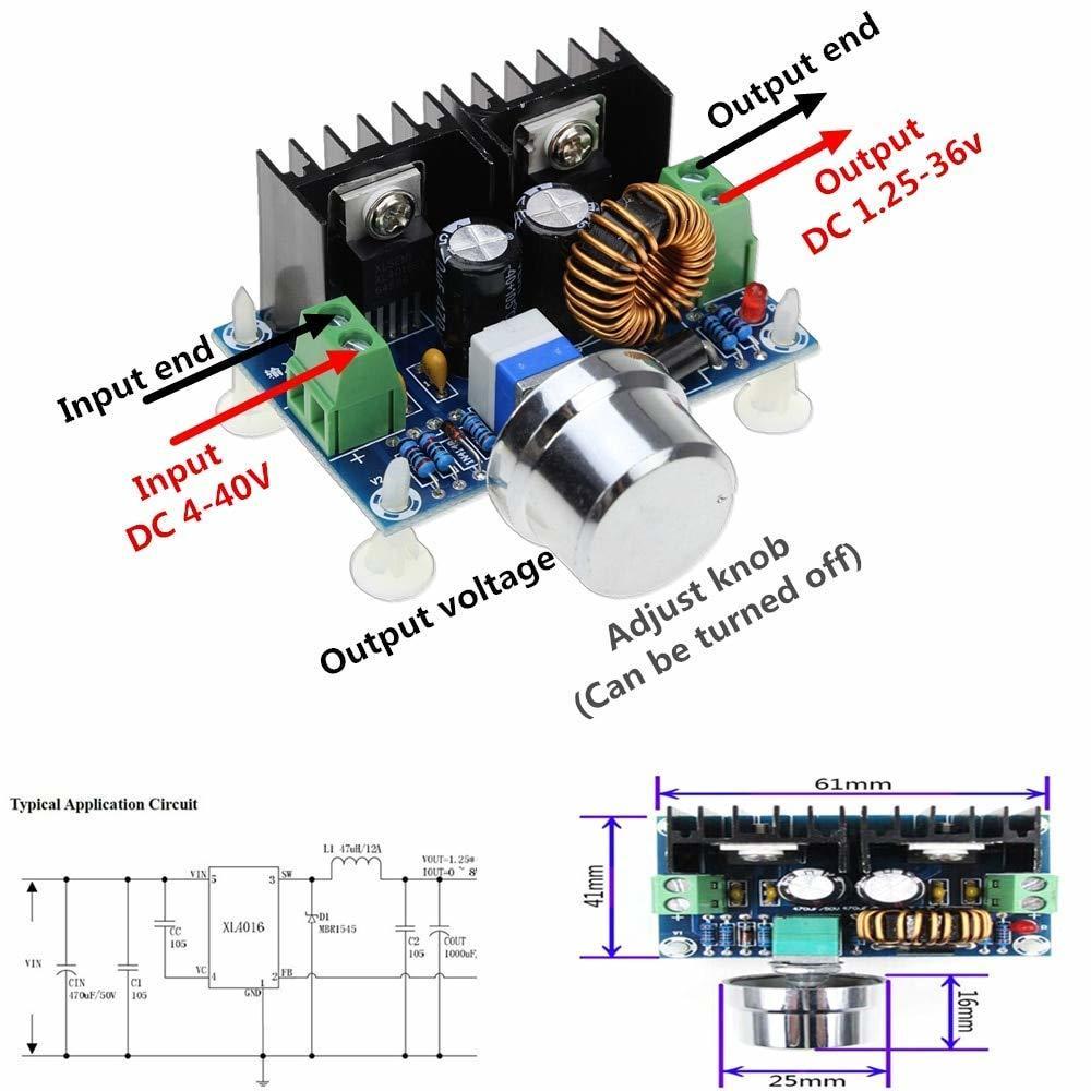 Buck Converter 4V-40V 1.2V-36V 200W 8A XL4016 Step-Down Voltage Power Modul