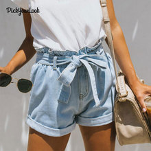 PickyourLook Lace Up Denim Female Short Jeans for Women Casual Summer Ladies Hot Light Blue Sexy Shorts Femme