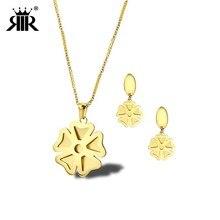 28b69a61e0bf Collar de acero inoxidable con trébol de cuatro hojas de oro de la suerte y  pendientes colgantes para mujer conjuntos de joyas d.
