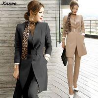 Pant suits women blazers set office lady formal business suits work wear uniform sets long style elegant slim blazer coat Xnxee