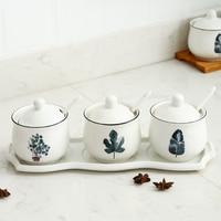 Ceramic seasoning jar kitchen supplies household seasoning box set Nordic plant combination seasoning bottle storage tank 4 sets