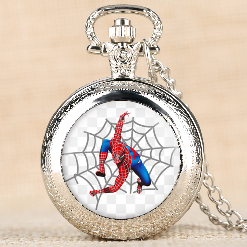 Silver Brown Pocket Watch Vintage Quartz Movement Pocket Watches Spider-Man Printing Pattern Necklace PendantBest Gift For Kids