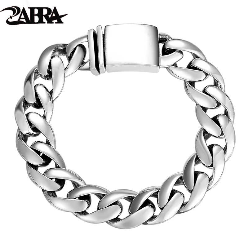 f84f90fa7799c8 ZABRA Solid 925 Sterling Silver Bracelets Man High Polish Link Chain  Bracelet For Men Vintage Punk