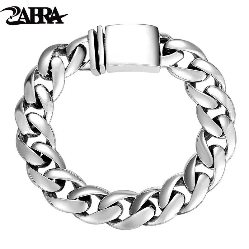 ZABRA Solido 925 Sterling Silver Bracciali Uomo di Alta Polacco di Collegamento Chain Del Braccialetto Per Gli Uomini Dell'annata Punk Gioielli Per Uomo-in Bracciali e braccialetti da Gioielli e accessori su  Gruppo 1