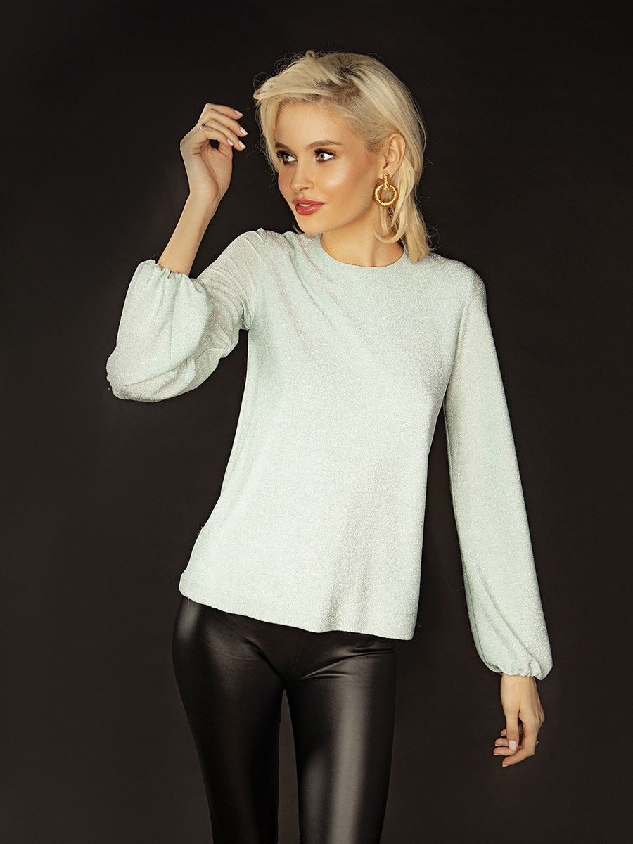 Blouse with lurex C.H.I.C female loose plunge design zipper front blouse with long sleeves