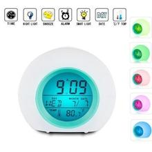 e6c08b97c الإيقاظ ساعة رقمية للأطفال 7 ألوان تغيير ضوء السرير ساعة للبنين بنات نوم مع  داخلي درجة الحرارة