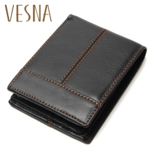 цены Vesna Fashion And Vintage Wallet For Man Wallets 100% Genuine Leather Men's Wallets Men Cowhide Purse