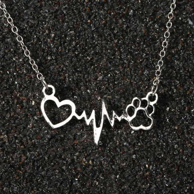 Lovely Paw Print Love Heart Heartbeat Pendant Chain Necklace 4