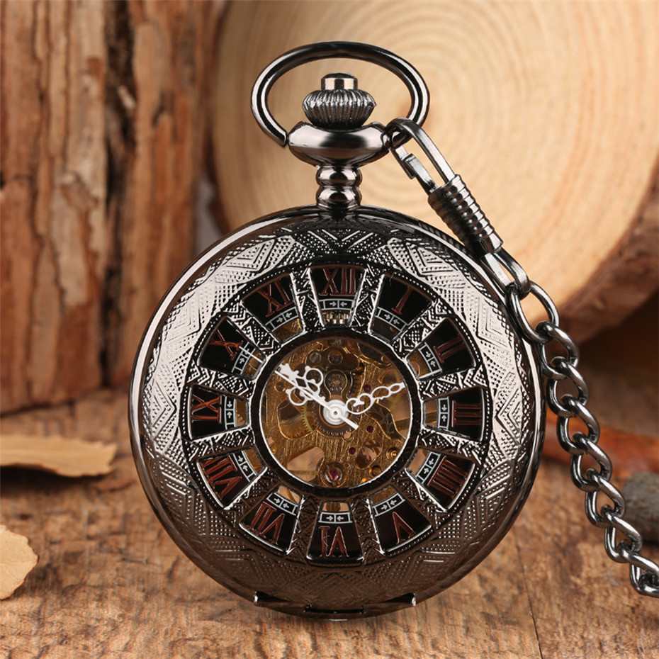 Steampunk Black Mechanical Pocket Watch Hand-Wind Pocket Pendant Watch Hollow Skeleton Roman Numerals Display Retro Clock Gifts