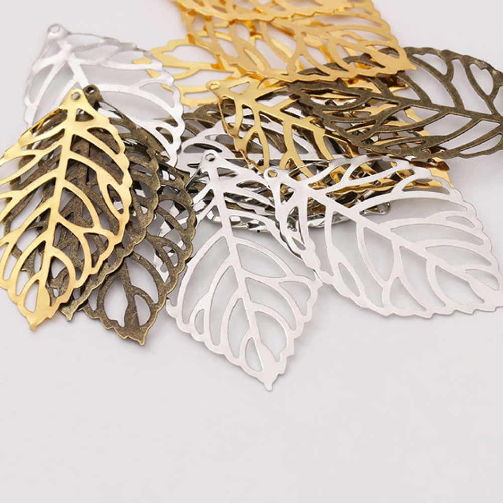 10Pc Vintage Oro Argento Placcato Mestiere Hollow Foglie Accessori Per Capelli Pettine Creazione di Gioielli FAI DA TE di Fascino di Risultati Dei Monili In Filigrana
