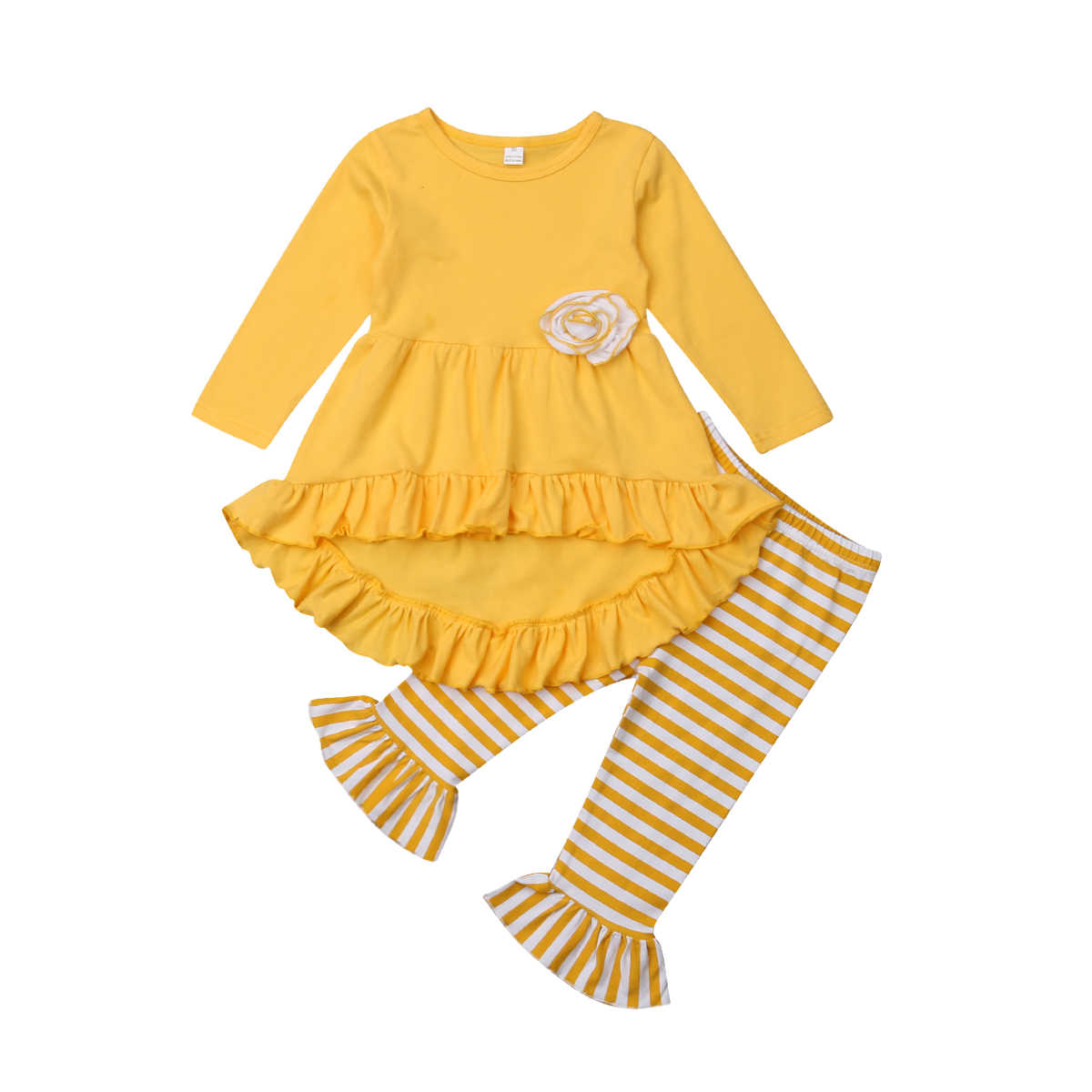 2PCS Kids Baby Girls Long Sleeve Tops 3D Floral Dress Striped Ruffle Pants Outfits Set Clothes