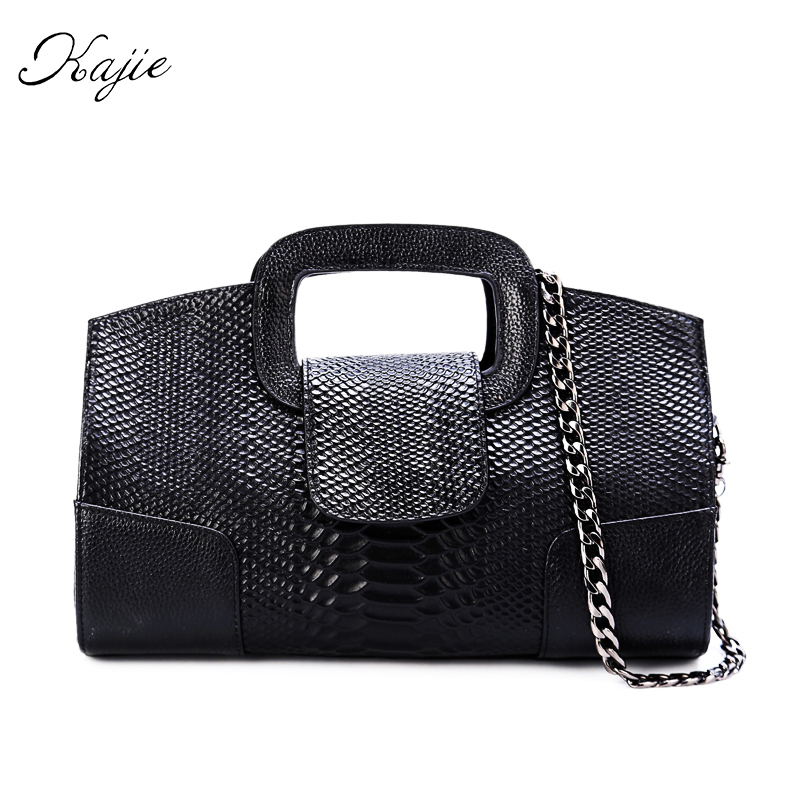 Kajie 2018 Genuine Leather Chain Bag Black Gold Silver Small Party Wedding Day Clutch Bag With Handle Lady Luxury Shoulder Bag
