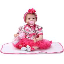 52cm Silicone Reborn Baby Doll Toy Lifelike Newborn Baby Doll Set Silicone Body Eyes Open with Clothes Cute Gifts Toy Set(China)