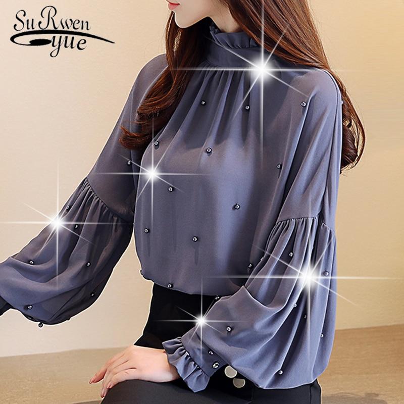 Fashion Chiffon Women   Blouses     Shirt   2019 Long Sleeve Solid OL   Blouse   Women Tops Elegant Beading Causal Top Female Blusas 0781 30
