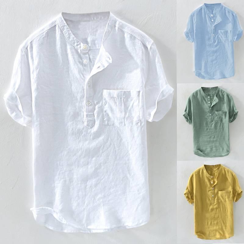 Fashion Pullover Mens Shirt Casual Shirts Dress Button Short Sleeve Slim Fit Summer Plain Tee Camiseta Chemise Beach Plain Tee