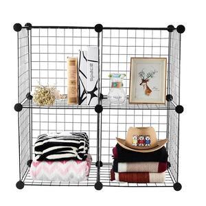 Image 2 - Multifunctional Black Metal 35x35cm Mesh Combination Storage DIY Cube Wardrobe And Modular Shelf Net Wire Mesh Shelf And Shelf