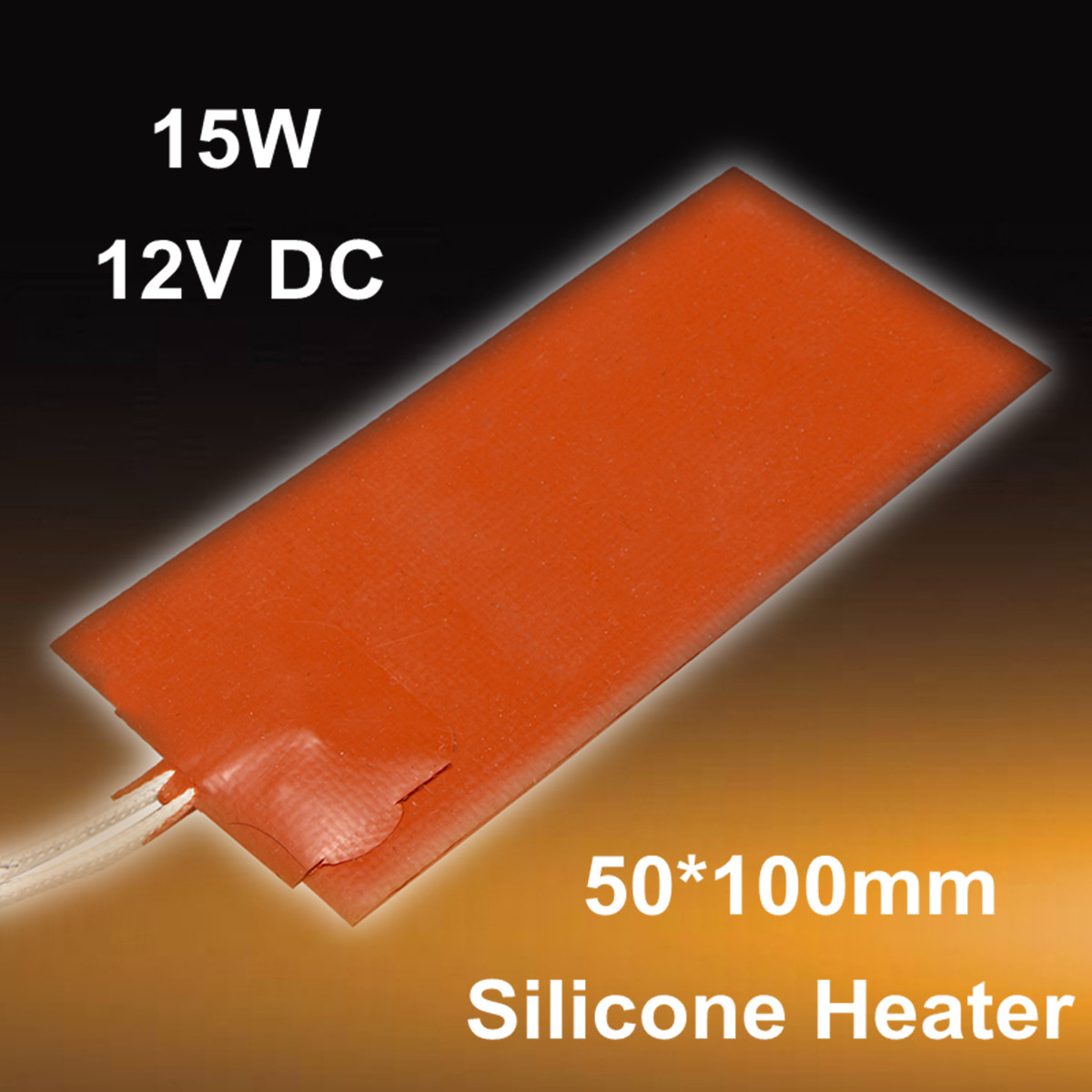 15W 12V DC 50X100mm Flexible Waterproof Silicon Heater Pad Wire Heater Engine Block Oil Pan Hydraulic Tank Heating Plate Mat
