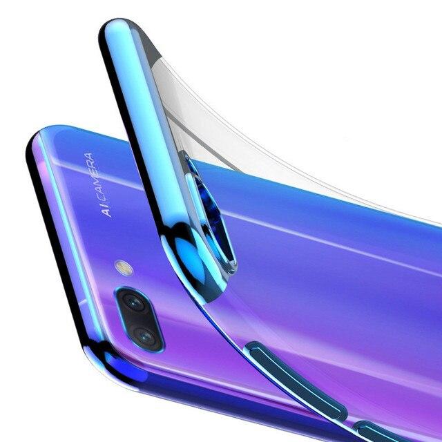 Electroplate cubierta transparente para Huawei P inteligente 2019 P30 P20 lite pro Nova 4 3 3i Honor 8X 8C funda de silicona de TPU suave 7X 7C