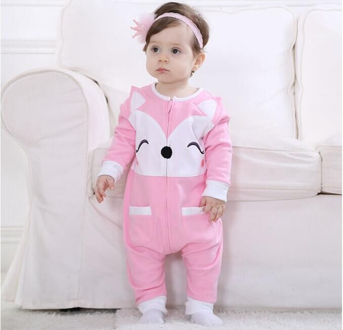 Androkton Spring Newborn Infant Baby Clothes Pure Cotton Romper Hooded Jumpsuit Pink Fox Rabbi Onesie Cosplay Boys Girls Costume