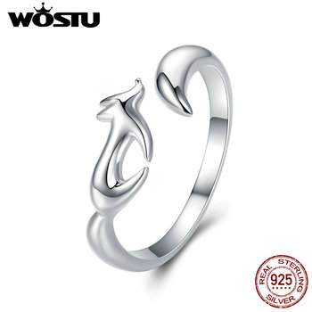 WOSTU Real 100% 925 Sterling Silver Fox Animal Simple Rings For Women Anniversary Party Luxury Ring Romantic Jewelry Gift CQR478