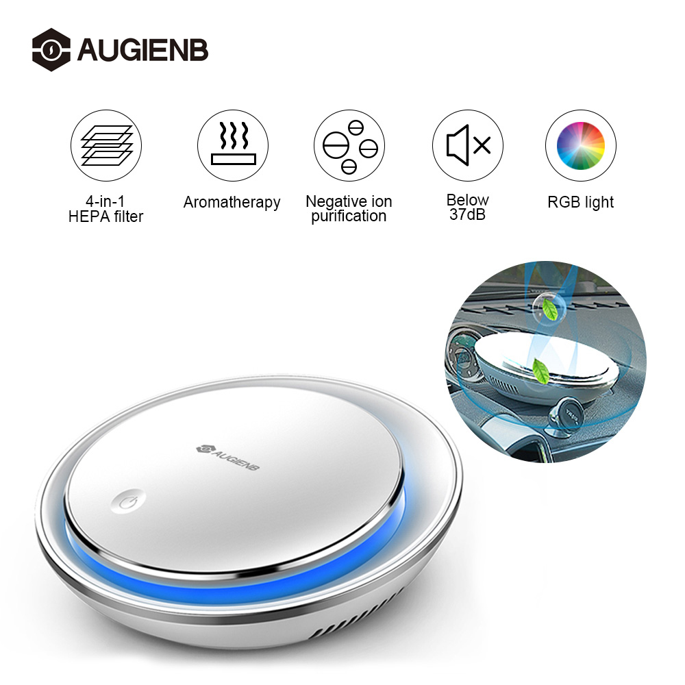 AUGIENB Car Air Purifier HEPA Filter Negative Ion Fresh Aromatherapy RGB  Night Light Silent Smoke Odors Dust Pollen Cleaner