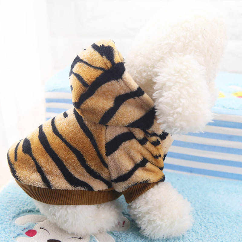 1 шт., милые худи в виде тигра, Одежда для питомцев, собак, кошек, зимнее теплое пальто, флисовые костюмы для собак, для маленьких собак, чихуахуа, куртка, одежда