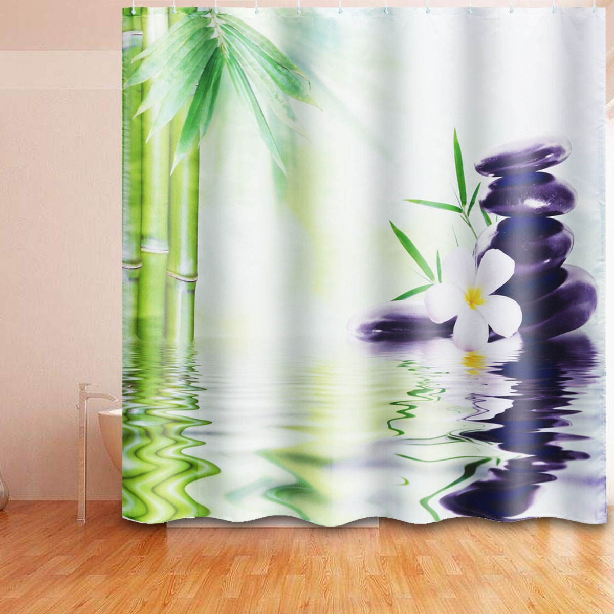 Chinese Style Shower Curtain Bamboo Bathroom Curtain