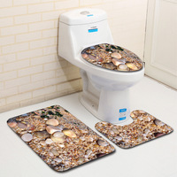 3D Cobblestone Printed Bathroom 3pcs set Bath Mat Shower Room Carpet 7 kinds home decoration accessories modern badmat