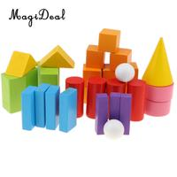 Math Montessori Toys 32pcs Wooden Geometric Solids Preschool Learning Toys