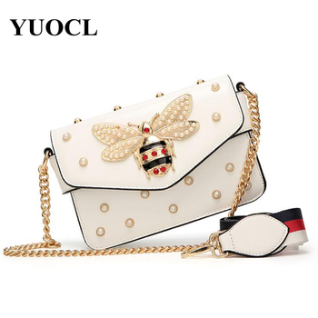 Small Pu Crossbody Bags For Women 2021 Chains Bee Luxury Handbags Designer Famous Brand Shoulder Bag Hand Sac A Main Female  1