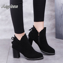 Women casual warm pumps Ankle Martin Boots shoes Autumn Winter Sexy Women Bow high heels derss Snow Boots women Botas mujer  w14 недорого