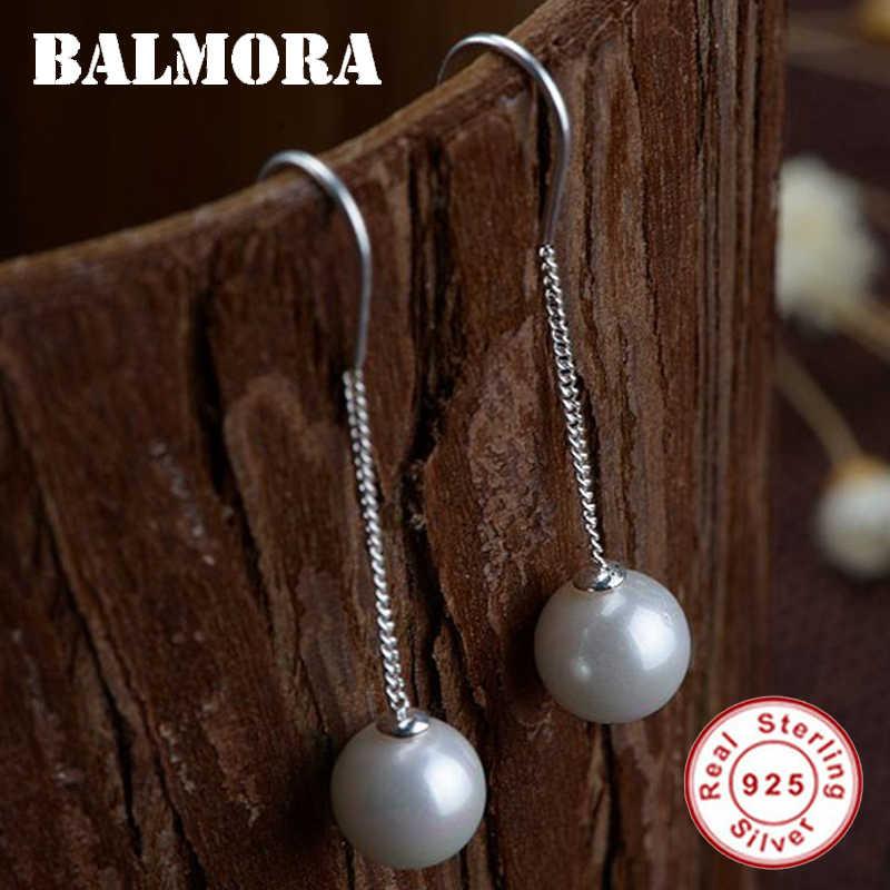 أقراط أذن من الفضة الإسترليني 925 من BALMORA مُزينة بالخرز على شكل خط أقراط أذن للنساء هدايا مجوهرات عصرية عتيقة Brincos SY31522