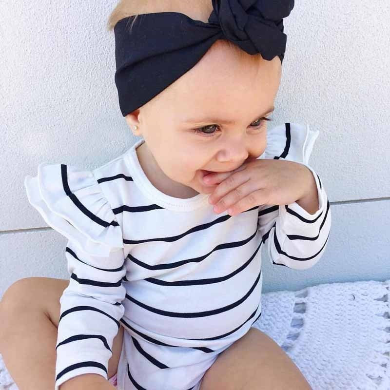 Striped Newborn Ruffles Frilly Baby Girl Long Sleeve Cotton Bodysuit Leotard Little Kids Girl Clothes