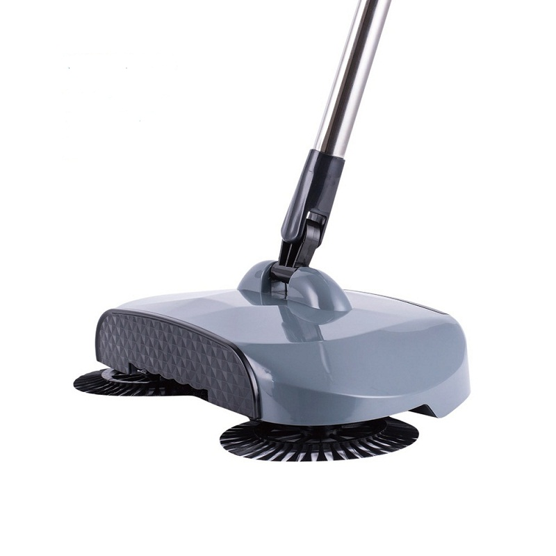 Stainless Steel Sweeping Machine Push Type Hand Push Broom Dustpan Handle Household Cleaning Package Hand Push Sweeper Mop Grey