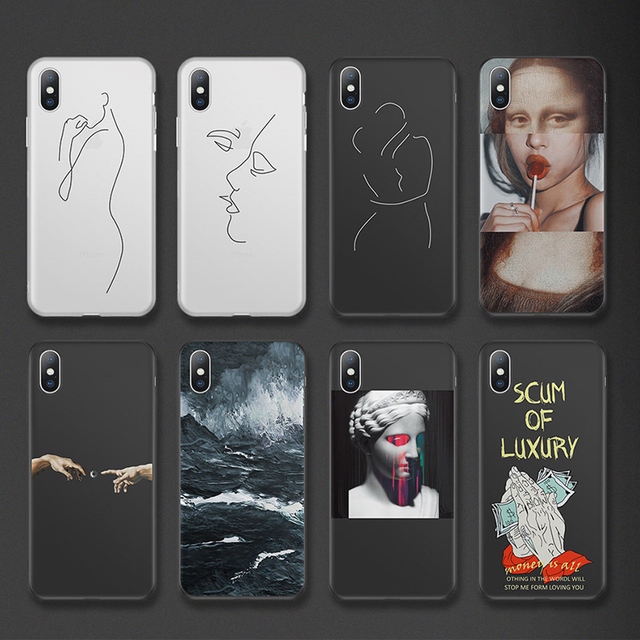 Cartoon Statue Abstract Art Soft TPU Phone Case for iPhones 1