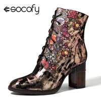 Socofy talons hauts printemps bottes femmes chaussures femme Vintage mouton cuir bottines rétro fermeture éclair dames chaussures chaussons