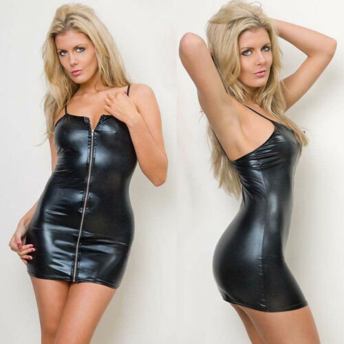 Summer Women Black Sexy PU Leather Skinny Mini Dress Sleeveless High Waist Spaghetti Strap
