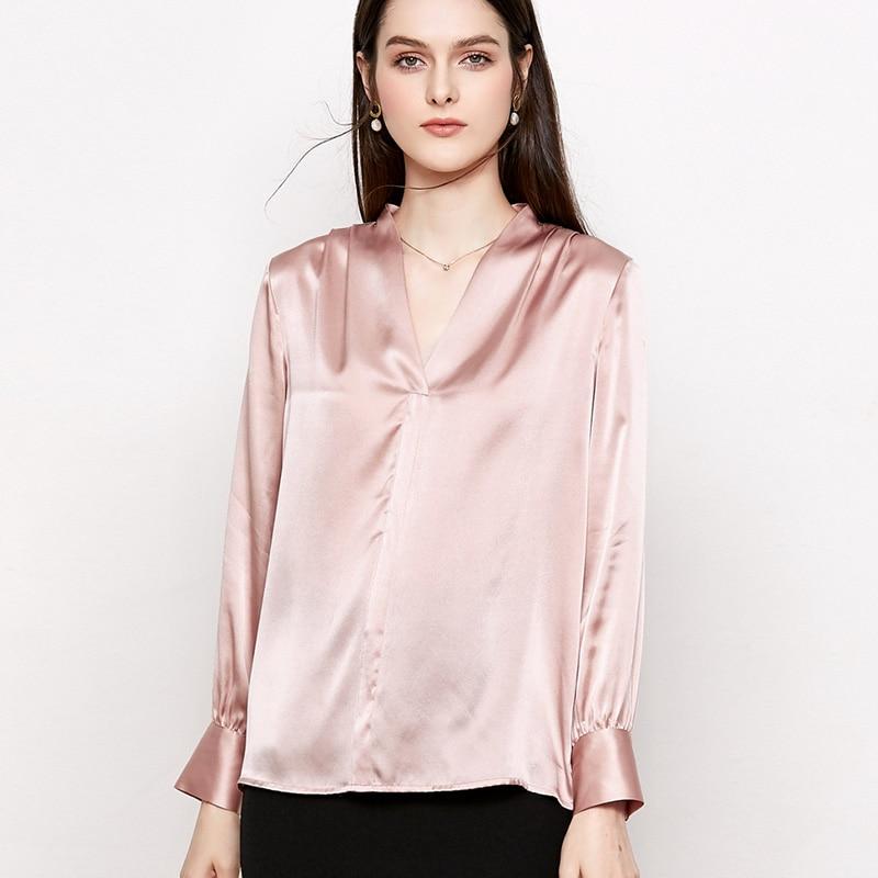 ผู้หญิงผ้าไหม 100% ผ้าไหมซาตินเสื้อผู้หญิง V คอเสื้อแขนยาว 2019 ฤดูใบไม้ผลิใหม่เสื้อสีชมพู-ใน เสื้อสตรีและเสื้อเชิ้ต จาก เสื้อผ้าสตรี บน   2