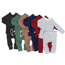 Get more info on the Baby kids Autumn Clothes Casual Solid color long sleeve top pants leggings  Girl BoyCute Stretchy Infantile outfits  0-2T