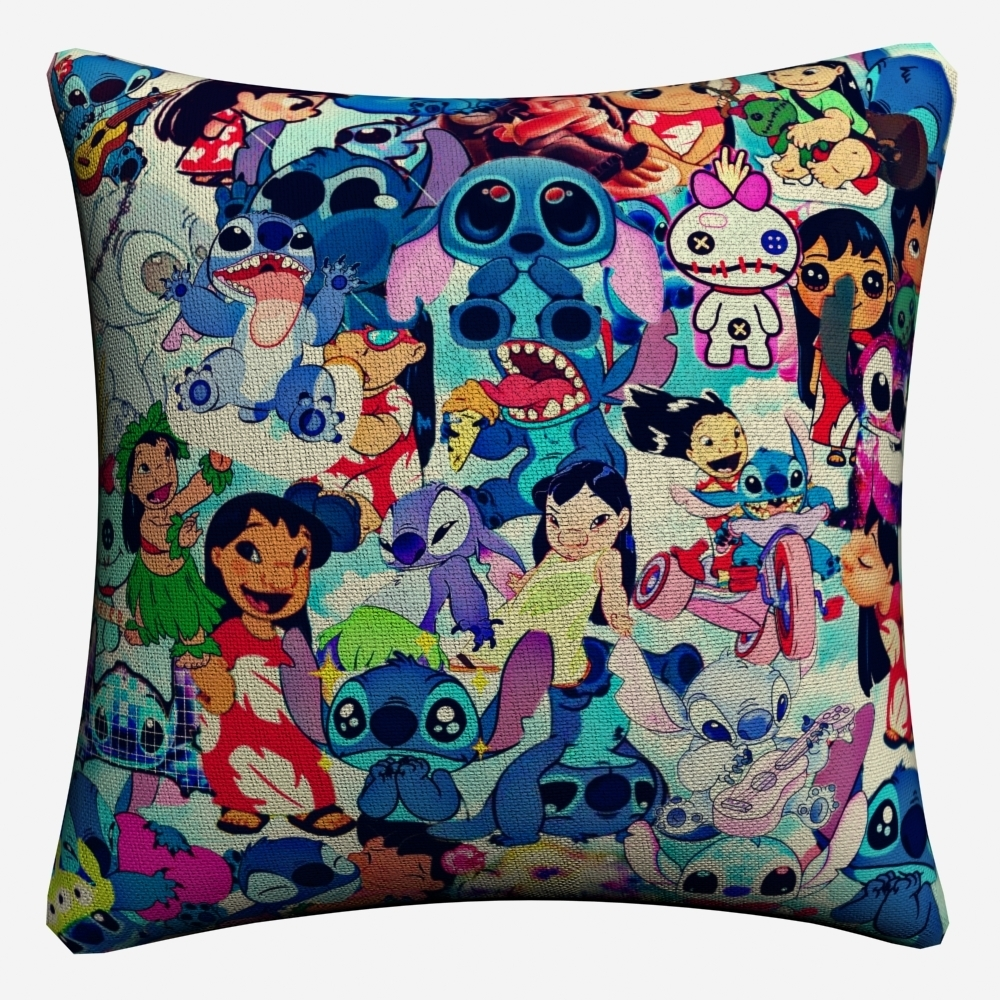 Lilo Y Stitch Funny Anime Full Figures Decorative Cotton Linen Cushion Cover 45x45cm For Sofa Pillow Case Home Decor Almofada in Cushion Cover from Home Garden
