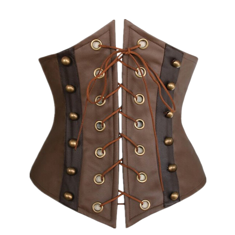 Image 3 - Women Brown Faux Leather Gothic Steampunk Corsets and Bustiers Lace Up Boned Underbust Waist CincherBustiers & Corsets   -