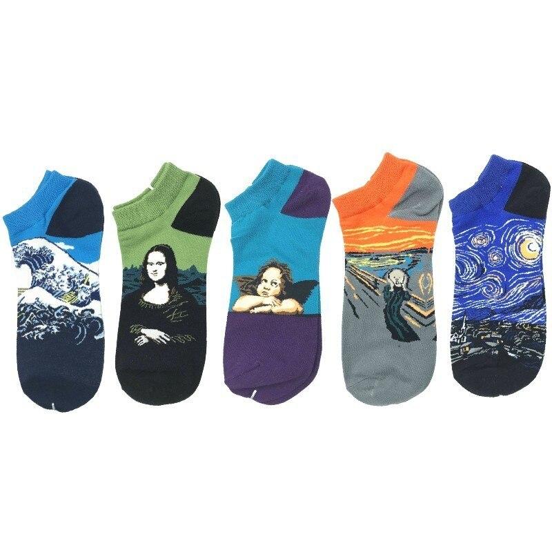 New Retro Oil Painting Art Socks Funny Boat Socks Men Cotton Fashion Happy Socks Vintage Men Cotton Van Gogh Socks Streetwear