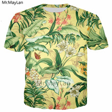 Palm Flowers 3D Print Florals Tshirt Women/men Hiphop Hipster Casual T-shirt Boys Modis T shirt Man Summer Gold Clothes Harajuku