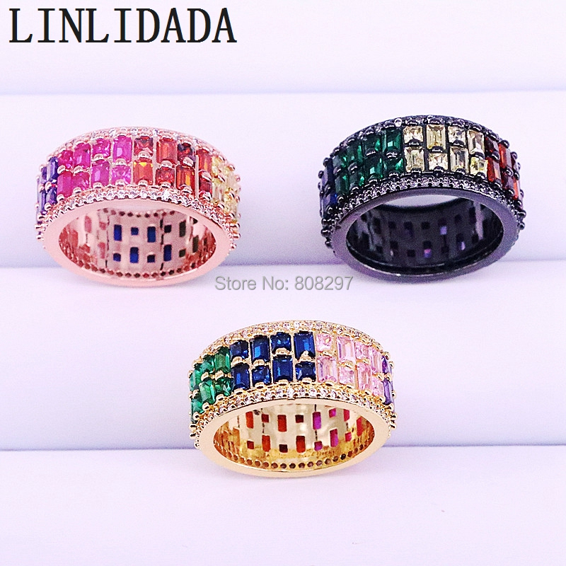 5Pcs Rainbow cubic zirconia Luxury cz ring fashion mix color gorgeous finger rings for women lady